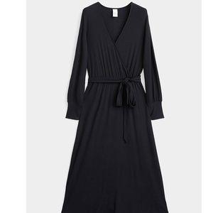 Lole black long sleeve ribbed wrap dress NWT